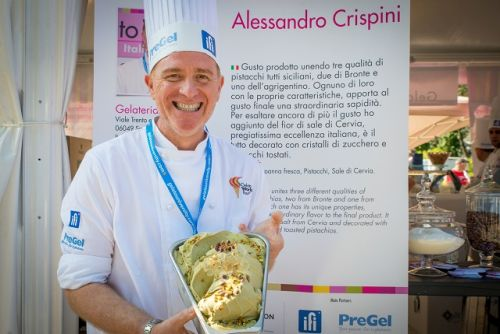Alessandro Crispini poses with his prize-winning gelato. Photo: Dino Buffagni/Gelato World Tour