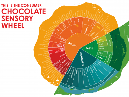 Barry Callebaut developed the Consumer Chocolate Sensory Wheel with 87 descriptors, covering the flavor, texture and aroma of chocolate.